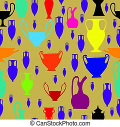 Seamless colorful pattern with amphora and ancient...