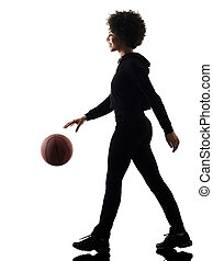young teenager girl woman basketball players shadow...