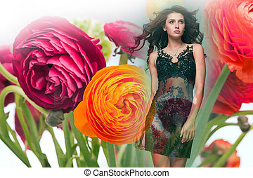 art collage with very beautiful woman in flowers