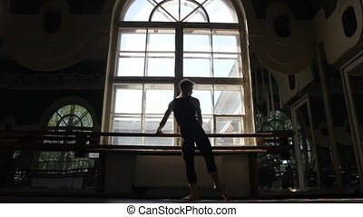 Silhouette of ballet dancer in ballet hall - Silhouette of...