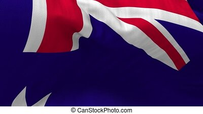 Australian Flag Animation - Close up Australia flag blowing...