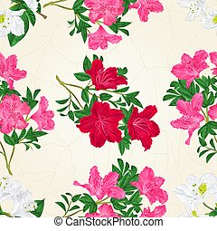 Seamless texture pink red and white flowers rhododendron...