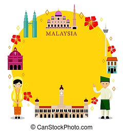 Malaysia Landmarks, People in Traditional Clothing, Frame -...