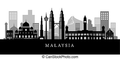 Malaysia Landmarks Skyline in Black and White Silhouette -...