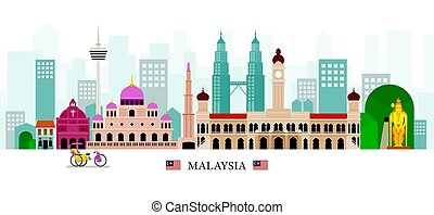 Malaysia Landmarks Skyline - Cityscape, Travel and Tourist...