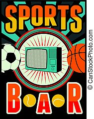 Sports Bar vintage style poster. Retro vector illustration.