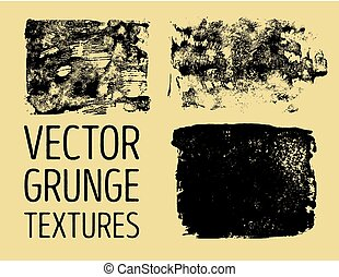 Monochrome abstract vector grunge textures. Set of hand drawn brush strokes and stains.