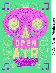 Open Air festival party typographic vintage style grunge...