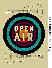 Open Air festival party typographic vintage style poster...