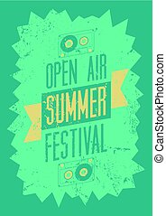 Summer festival open air typographical vintage grunge...
