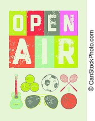 Open Air sport music festival typographic vintage style...