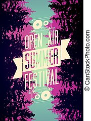 Summer festival open air typographical poster with fir trees...
