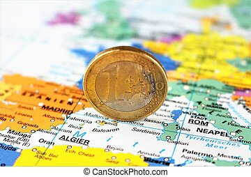 An image of a money on a map - euro