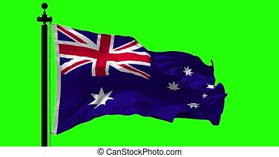 Australian Flag Animation on Green - Close up Australia flag...