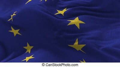Europe Union Flag - Close up Europe Union flag blowing in...