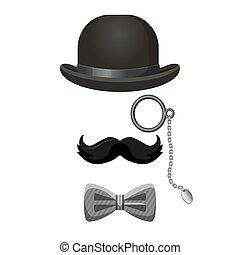Vintage gentleman set in black and grey colors
