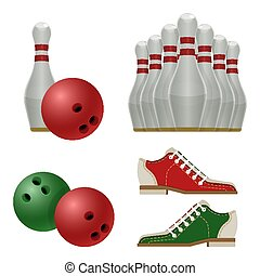 Accessories for bowling play, balls, pins or skittles, shoes...