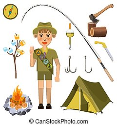 Scout boy with hand honor sign near camp equipment set