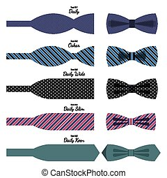 Bow ties set in colors with names on white - Bow ties...