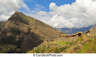 Landscape of Pisaq in Peru's Sacred Valley of the Incas