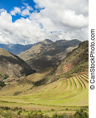 Landscape of Pisaq, in the Sacred Valley of the Incas, Peru