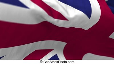 United Kingdom Flag - Close up United Kingdom flag blowing...