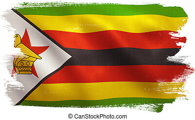 Zimbabwe Flag - Zimbabwe flag with fabric texture. 3D...