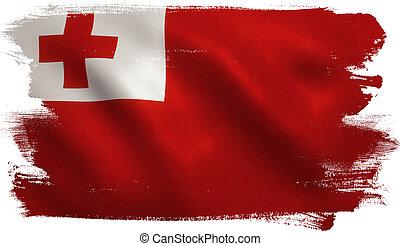 Tonga Flag - Tonga flag with fabric texture. 3D...