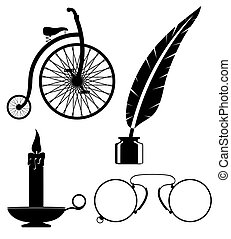 objects old retro vintage icon stock vector illustration...