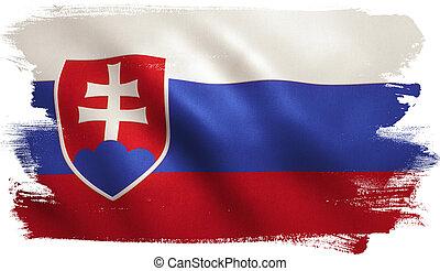 Slovakia Flag - Slovakia flag with fabric texture.