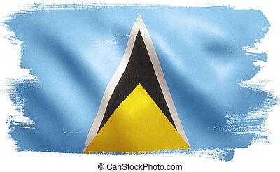 Saint Lucia Flag - Saint Lucia flag with fabric texture. 3D...