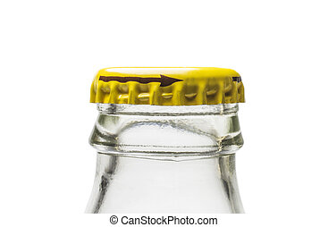 Neck of glass bottle from soda water with yellow metal stopper on white background