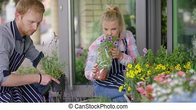 Woman and man working in floral shop - Young woman in apron...