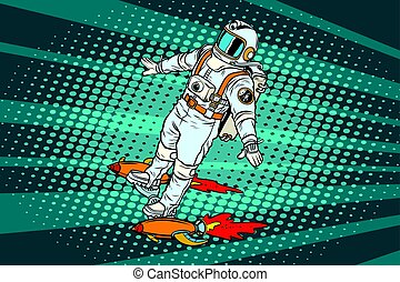 The astronaut is flying on a space rocket skateboard. Pop...