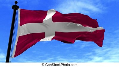 Denmark Flag Blowing in the Wind - Close up Denmark flag...