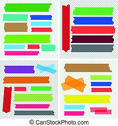 Mega collection of adhesive tape pieces vector set