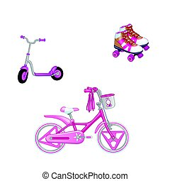 Set of children s transport. Eco transport for kids. Cute kids bicycle, roller skating and roller scooter for a girl. Vector illustration isolated on white background