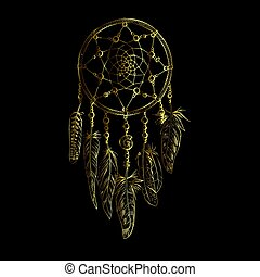 Golden luxury ornate Dreamcatcher with feathers, gemstones. Astrology, spirituality, magic symbol. Ethnic tribal element.