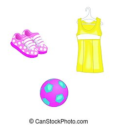 Summer clothes, dress icons and a ball for baby girl. Vector illustration. Isolated on white background.