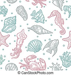Seamless pattern sea animal. Shell, cuttlefish, coral,...