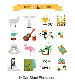 Brazil icons set - Vector collections with Brazil symbols...