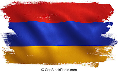 Armenia Flag - Armenia flag with fabric texture. 3D...