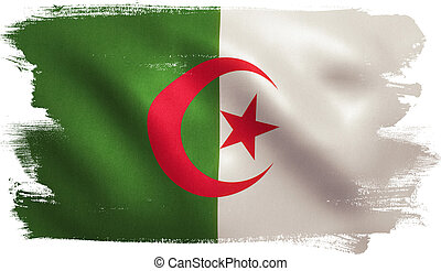 Algeria Flag - Algeria flag with fabric texture. 3D...