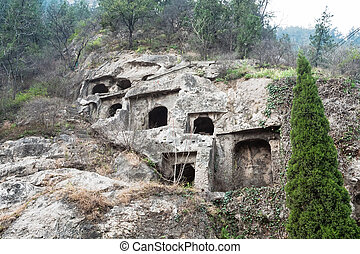 caves in West Hill in Longmen - LUOYANG, CHINA - MARCH 20,...