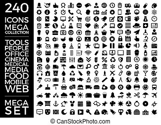 Set Of Icons, Quality Universal Pack, Big Icon Collection Vector Design