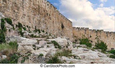 Fortification medieval walls of Jerusalem, Israel