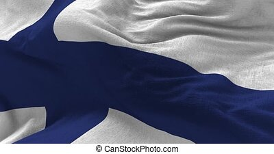 Finland Flag in the Wind - Close up Finland flag blowing in...