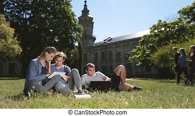 Positive college students studying on campus lawn - Three...
