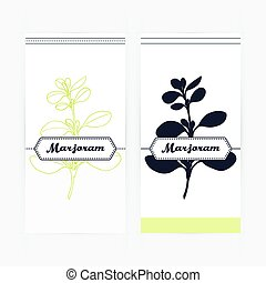 Hand drawn marjoram in outline and silhouette style. Spicy...
