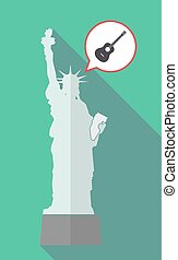 Long shadow statue of liberty with a six string acoustic...